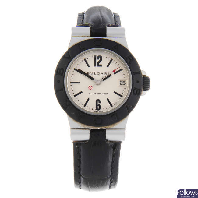BULGARI - a lady's bi-material Diagono Aluminum wrist watch.
