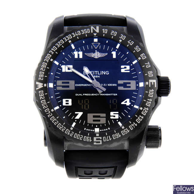 BREITLING - a gentleman's PVD-treated titanium Emergency Night Mission wrist watch.