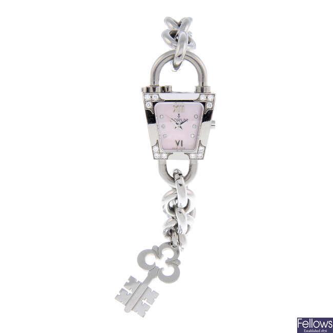 CORUM - a lady's stainless steel bracelet watch.