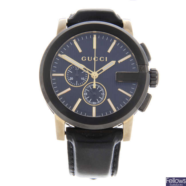 GUCCI - a gentleman's gold plated G-Chrono chronograph wrist watch with another Gucci watch.