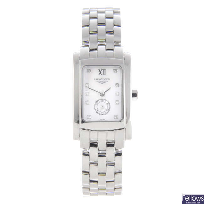 LONGINES - a lady's stainless steel Dolce Vita bracelet watch with two Longines watches.