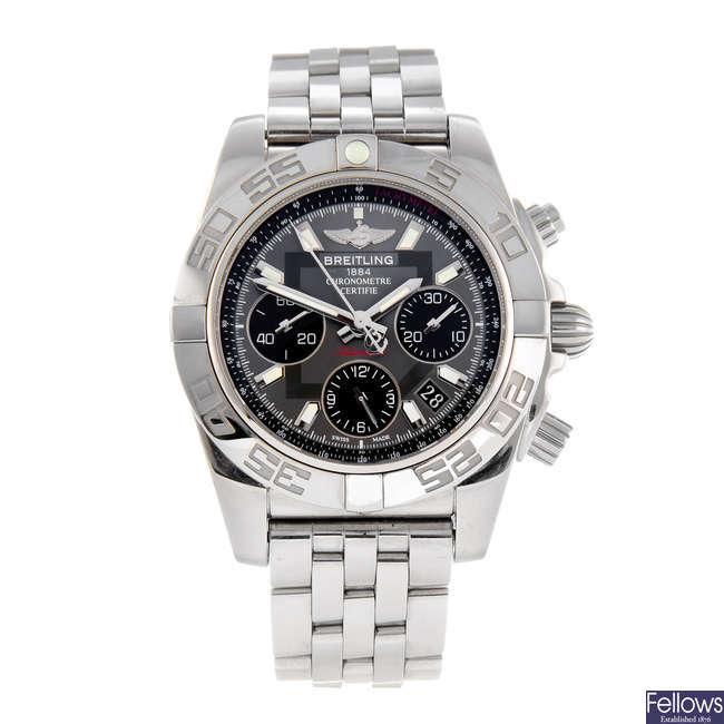 BREITLING - a gentleman's stainless steel Windrider Chronomat 41 chronograph bracelet watch.