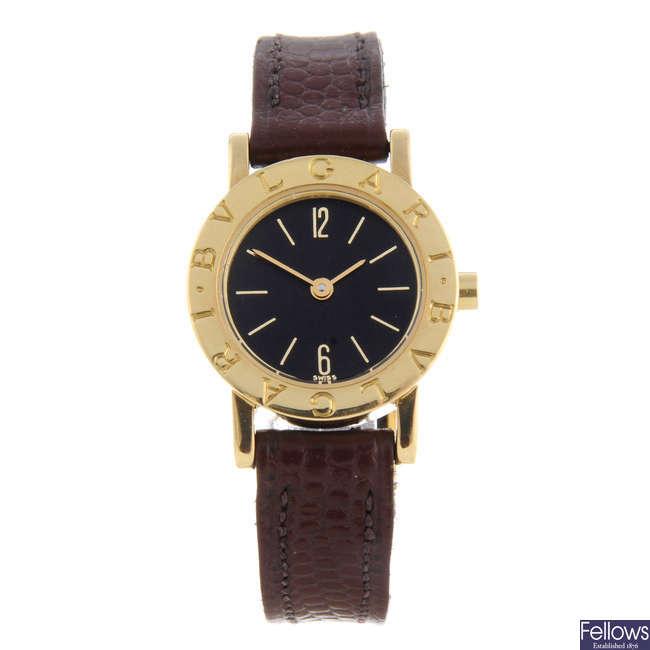 BULGARI - a lady's 18ct yellow gold wrist watch.