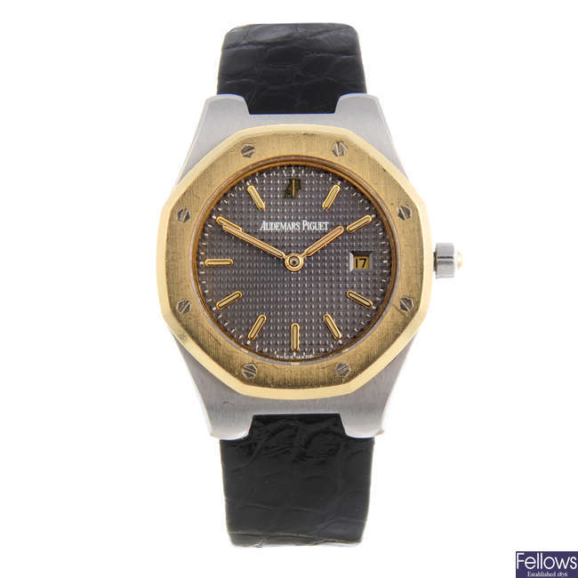 AUDEMARS PIGUET - a lady's bi-metal Royal Oak wrist watch.