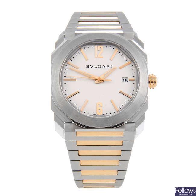 BULGARI - a gentleman's stainless steel Octo Solotempo bracelet watch.