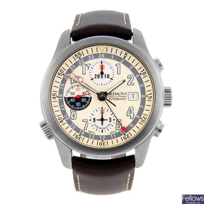 BREMONT - a gentleman's stainless steel Zulu chronograph wrist watch.