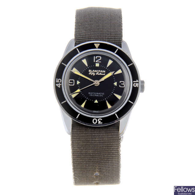 BLANCPAIN - a gentleman's rhodium plated brass Fifty Fathoms Bathyscaphe wrist watch.