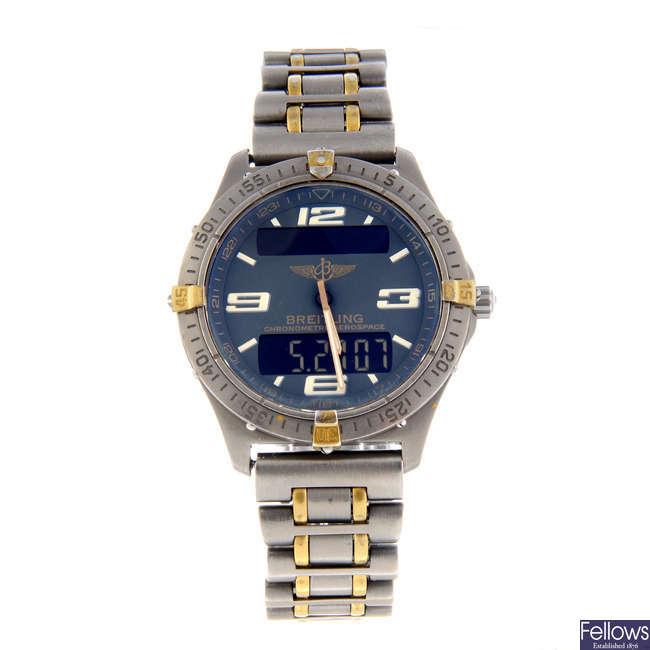 BREITLING - a gentleman's titanium Aerospace bracelet watch.