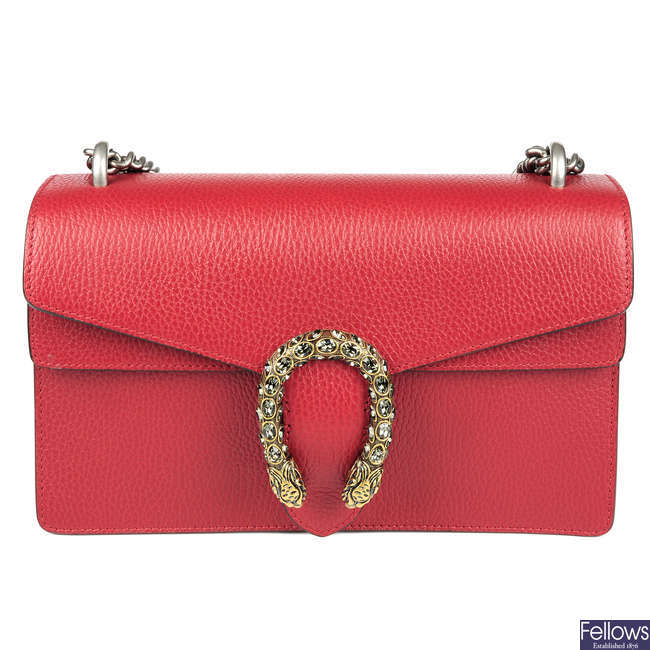 c308cc4b08158 LOT:137 | GUCCI - a Small Dionysus Swarovski embellished red leather ...