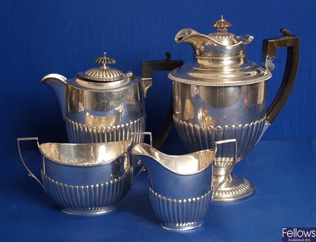 George V four piece tea service, comprising