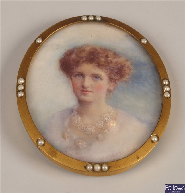 Late Victorian hand painted miniature depicting a