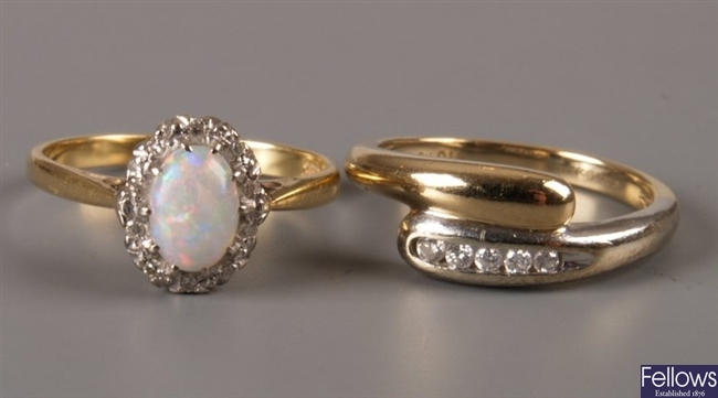 18ct gold oval opal and diamond cluster ring,
