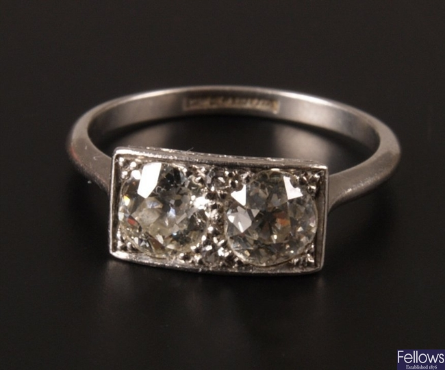 Platinum two stone Old European cut diamond set