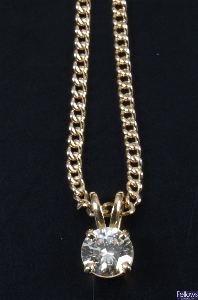 Claw set diamond pendant of some 0.50ct with an