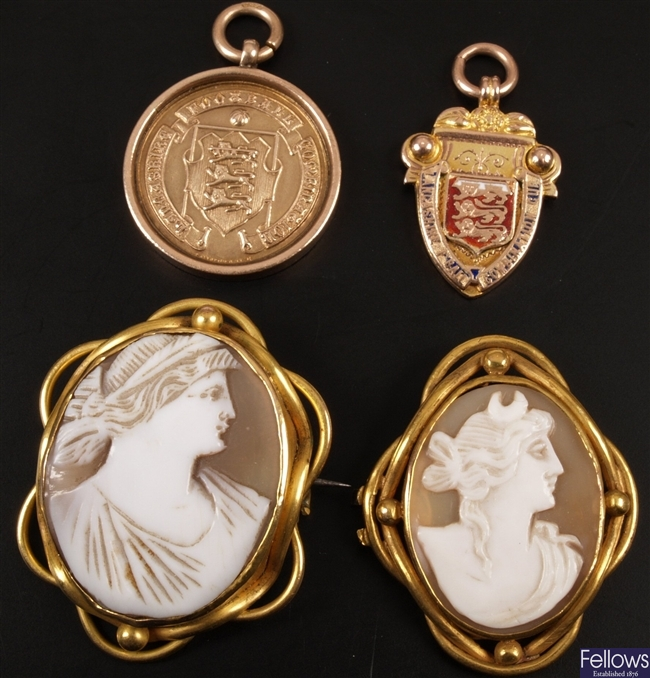 Two 9ct gold Lancashire football medals and two