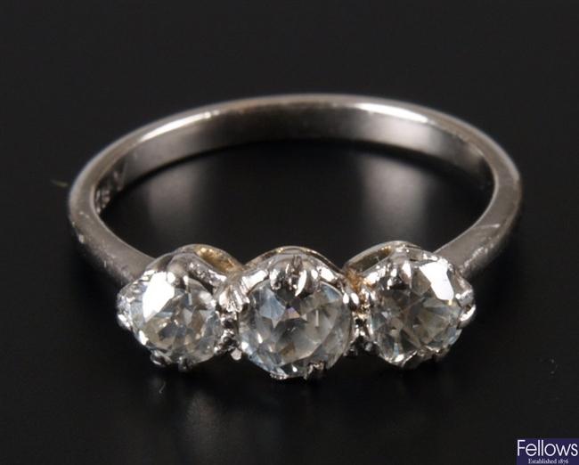 Old european cut diamond three stone ring with a