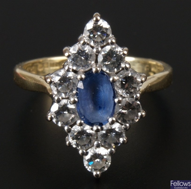 18ct gold oval sapphire and diamond set marquise