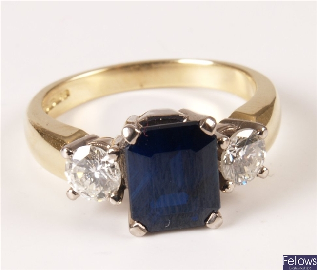 18ct gold mounted rectangular sapphire and