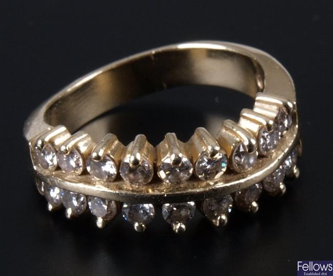 14k claw set two row diamond set shaped half hoop