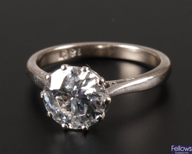 18ct white gold claw set single stone diamond