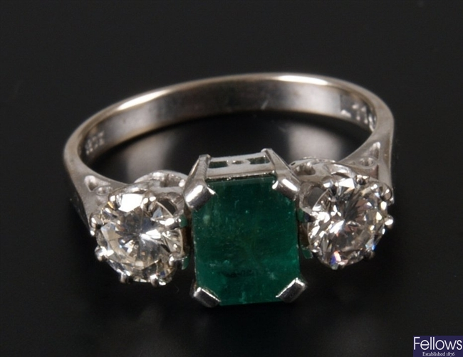 18ct white gold mounted rectangular emerald and