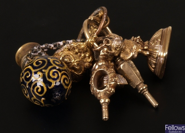Nine assorted fobs and seals to include two watch