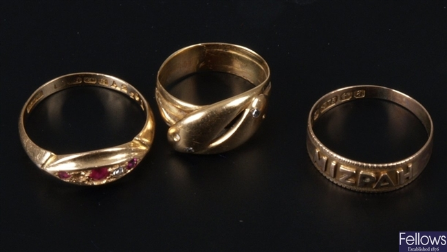 Three rings to include and 18ct gold ruby and