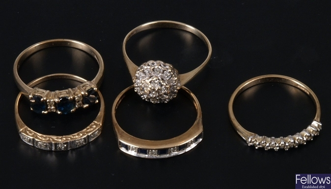 Five gold mounted diamond set rings to include