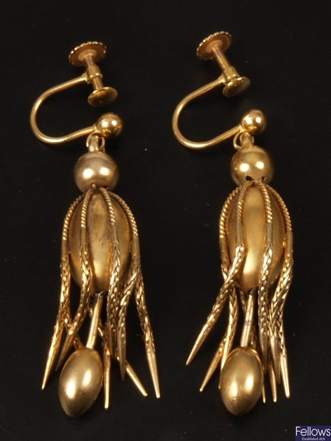 Pair of Victorian gold oval egg shape drop