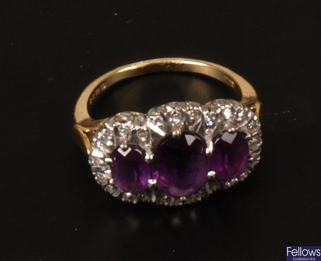 18ct gold triple oval amethyst and illusion set