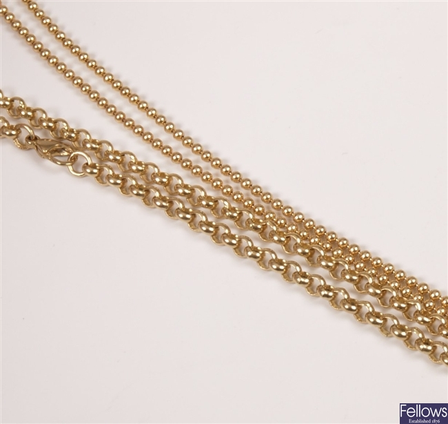 Two 9ct gold fancy chains.  Total weight of