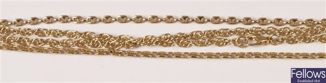 Two 9ct gold chains to include and anchor link