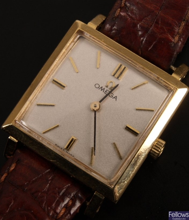OMEGA - a gentleman's 18ct yellow gold square