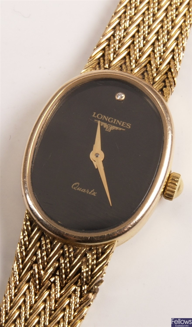 LONGINES - 9ct gold ladies watch with black oval