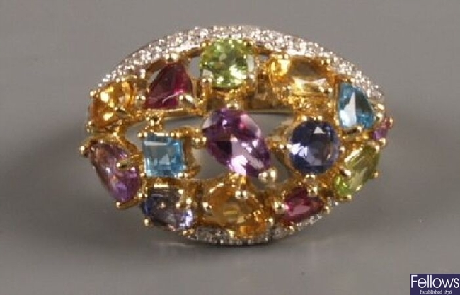 9ct gold multi gem cluster ring, a central open