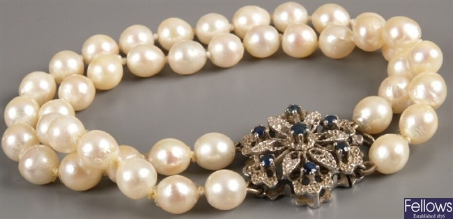 Two row cultured pearl bracelet with 750 white