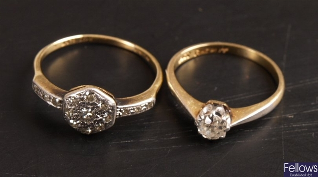 18ct gold and platinum single European old cut