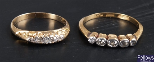 18ct gold and platinum five stone collet set