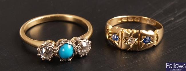 Victorian 18ct gold sapphire and diamond three