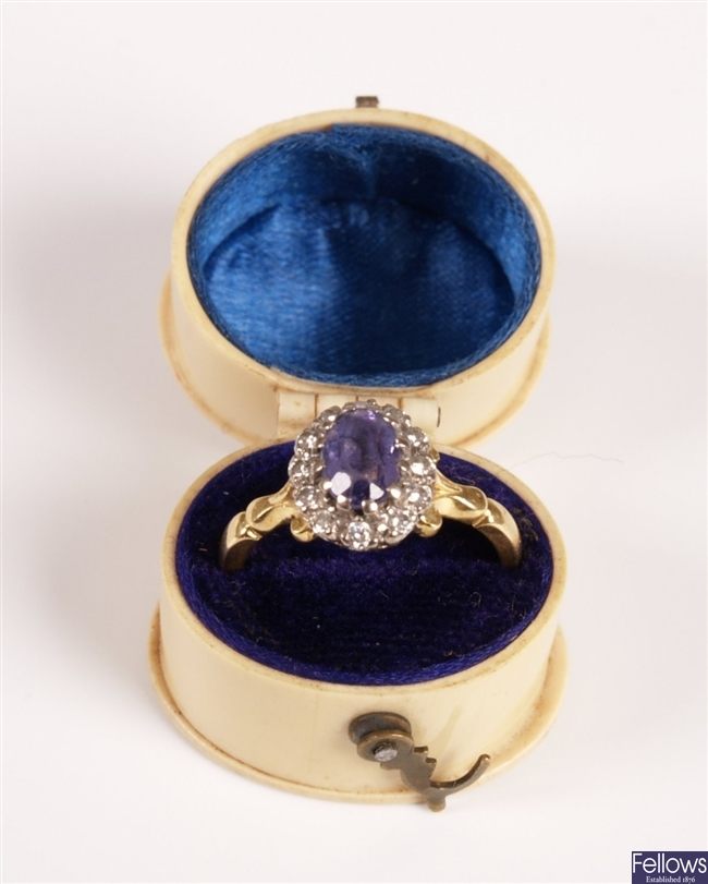 18ct gold diamond and tanzanite cluster ring, a