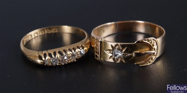 Two 18ct gold rings to include a ring in the form