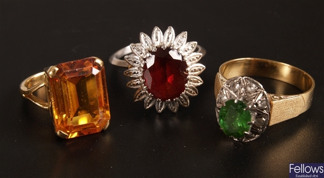 Three various stone set rings to include an 18ct