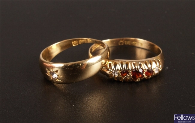 Early 20th century 18ct gold five stone ring,