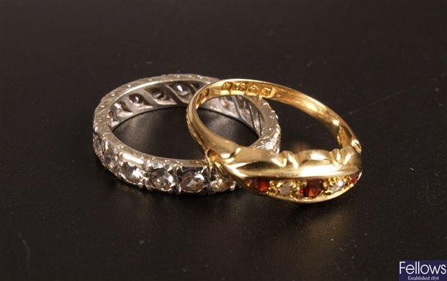 Early 20th century 18ct gold diamond and garnet