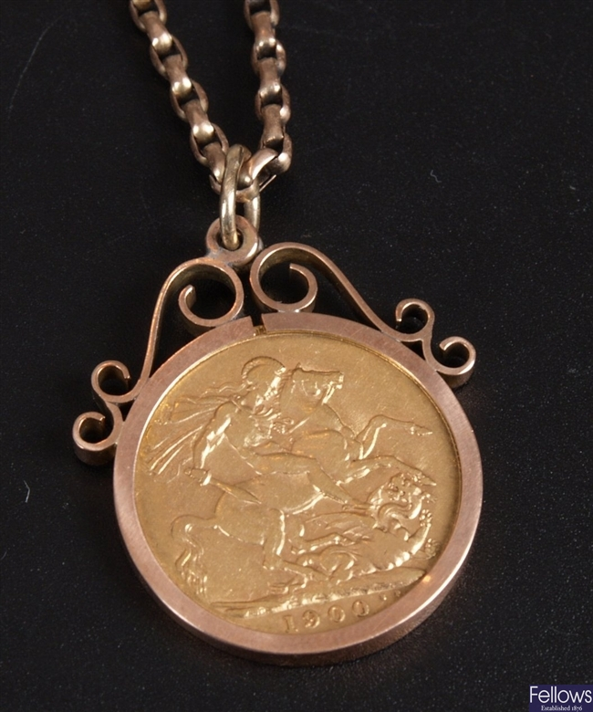 9ct gold mounted full sovereign pendant with