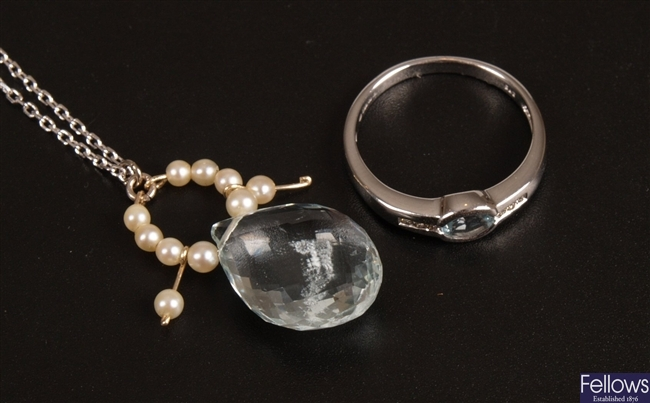 Two items of jewellery, to include a 9ct white