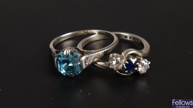 18ct white gold and platinum sapphire and old cut