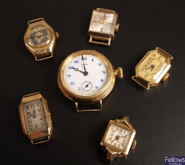 Six assorted 20th Century ladies 9ct gold watch