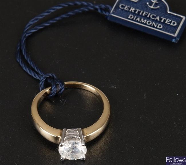 18ct gold single stone diamond ring. Estimated