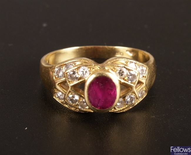 18ct gold ruby and diamond cluster ring, a